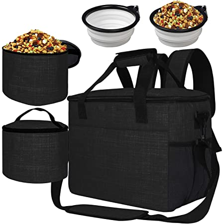 BAGLHER 丨Dog Travel Bag,Pet Supplies Backpack,Pet Accessories Storage Bag 5-Piece Set,with Shoulder Strap,2 Lined Pet Food Containers,2 Foldable Feeding Bowls. Essential Kit for Pet Travel.