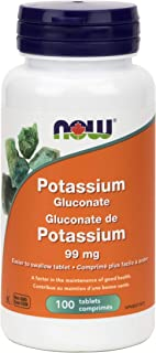 NOW Potassium Gluconate 99mg 100 Tablets, 50 g