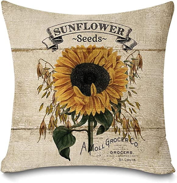 Faromily Rustic Farmhouse Sunflower Throw Pillow Covers Vintage Wood Sunflower Seeds Cotton Linen Farmhouse Decorative Throw Pillow Cases Cushion Cover 18 X 18 Sunflower