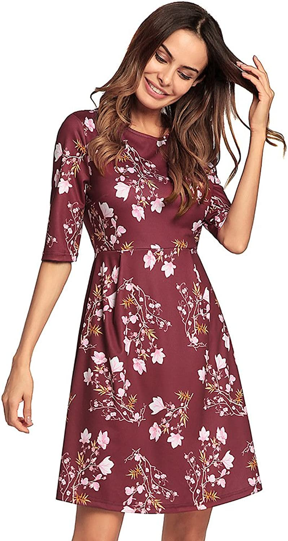 Kemosen Women's 3 4 Sleeve HighWaist Floral Printed TShirt ALine Tunic Dress
