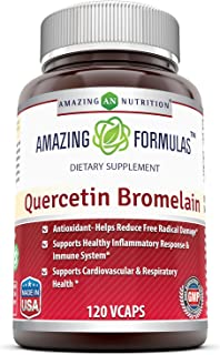 Amazing Nutrition- Quercetin 800 Mg with Bromelain 165 Mg, 120 Vcaps: A Potent Team Providing Amazing Health Benefits. Ant...