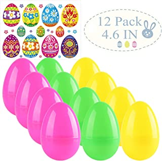 Easter Eggs Plastic Eggs Fillable Bulk Plastic Bright Easter Egg Hunt Party Supply Perfect for Easter Egg Hunt/Surprise Egg/Easter Hunt 12 PCS 4.6Inch Assorted Color Plastic Eggs