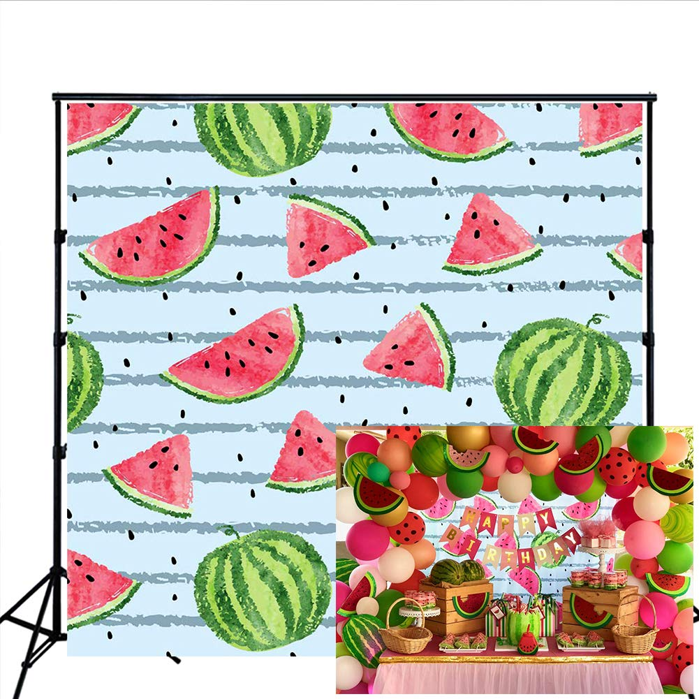 Watermelon Backdrop 7x5ft Red Green Black Seeds Summer Fruit Photography Background for Kids Birthday Party Dessert Table Banner Studio Photo Props BJLHLU83