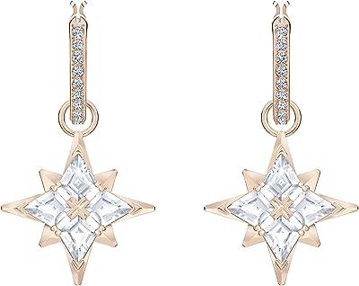 Swarovski Orecchini a cerchio Swarovski Symbolic Star, bianco, Placcato oro rosa