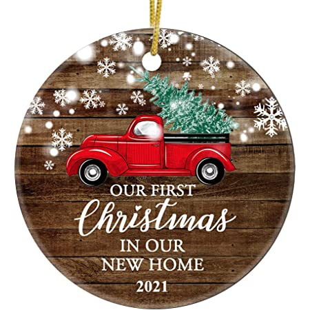 Our First Christmas 2021 Ornament Amazon Com Juppe Our First Christmas In Our New Home 2021 Decoration Mr Mrs Newlywed Ornament Romantic Couples Gift Red Car 1 Kitchen Dining