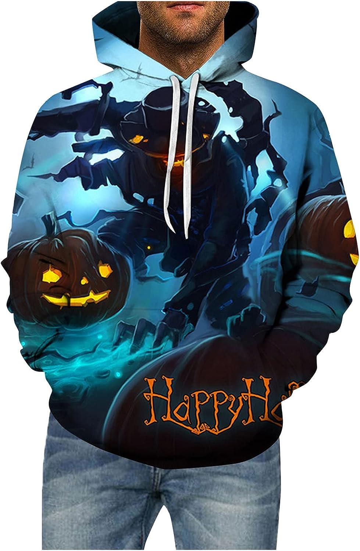 Halloween Shirts for Mens,Men's Halloween Pumpkin Hoodies Pullover Sweatshirts Casual Long Sleeve Tops(XL-5XL)
