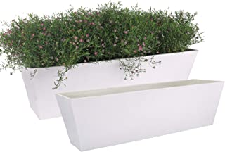 """LA JOLIE MUSE 21.7"""" Long Window Planter Box, Trapezoid-Shaped Plastic Planter for Indoor and Outdoor, Minimalist Chic Rect..."""