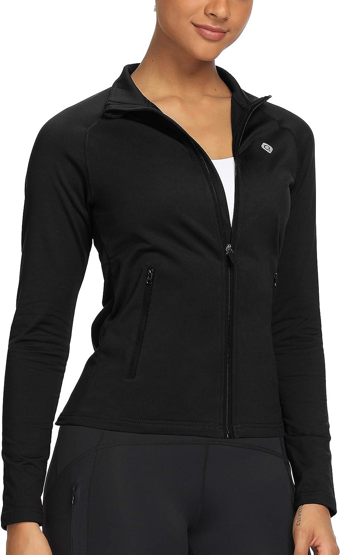 CQC Women's Girl's Fleece Thermal Long Sleeve Running Track Jacket - Full Zip Workout Yoga Jacket