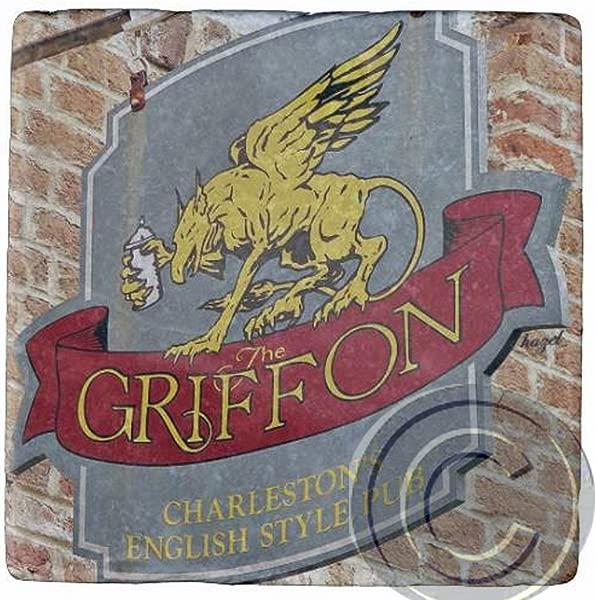 Griffon English Pub Charleston SC Marble Stone Coaster