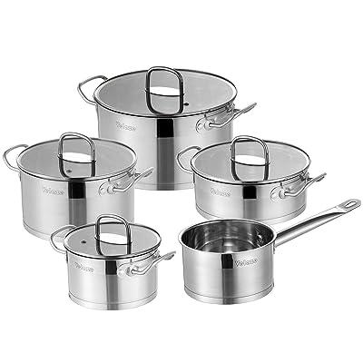 Velaze Stainless Steel Cookware Set, 9-Piece Po...