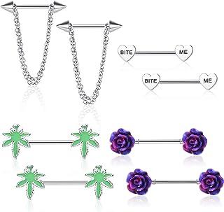 Udalyn 4 pares de anillos de pezón de acero quirúrgico para mujeres y hombres, con forma de corazón y flores, marihuana, p...