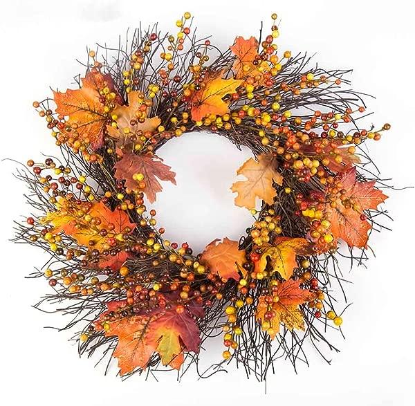 Door Wreaths Lavany Berry Maple Leaf Fall Colors Front Door Wreath Door Wall Ornament 20 Inches Yellow