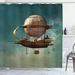 Ambesonne Fantasy Shower Curtain, Surreal Sky Scenery with Steampunk Airship Fairy Sci Fi Stardust Space Image, Cloth Fabric Bathroom Decor Set with Hooks, 70