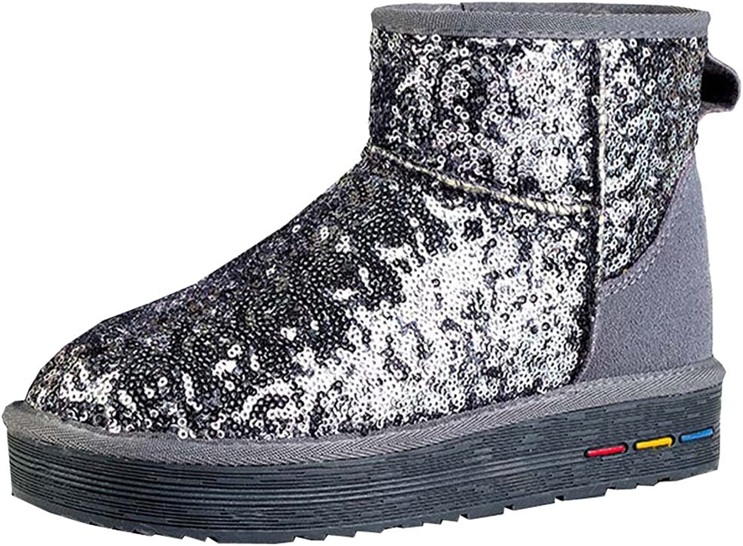 New women's snow boots warm cotton-padded shoes casual sequined Fabric