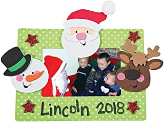 Fun Express - Christmas Character Foam Picture Magnet for Christmas - Craft Kits - Stationary Craft Kits - Frame - Christmas - 12 Pieces