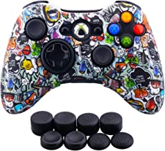 9CDeer 1 Piece of Silicone Water Transfer Protective Sleeve Case Cover Skin + 8 Thumb Grips Analog Caps for Xbox 360 Controller, Strawberries