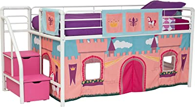 Amazon Com Castle Tent Twin Loft Bed Slide Playhouse W Under Bed Storage Red White Amp Blue Top