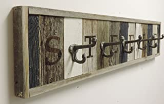 Personalized Wooden Coat Rack with Metal Hooks, Rustic Wall Mounted Entryway Storage, Custom Modern Farmhouse Wall Decor. Reclaimed Barn Wood Your Choice of Lettering Length and Accent Colors.