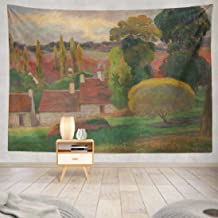 KUMAIN Landscape Painting Tapestry, Farm French Painting Oil Canvas Work Tropics and Color 60x80 Inch Tapestry Wall Hanging Decor Decorative Tapestry Wall Art for Men Home Decor Dorm,Farm French