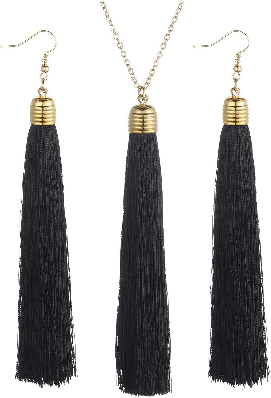 MILAKOO Long Tassel Necklaces for Women Lady Fringe Thread Dangle Earrings Set Women Party Wedding Jewelry
