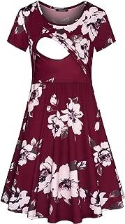 Women's Floral Short Sleeve Summer Maternity Nursing Breastfeeding Dress