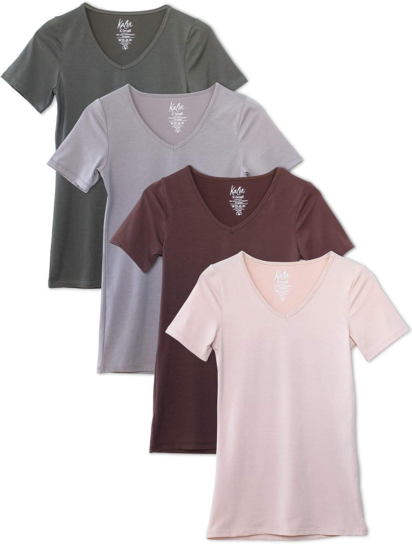 Kalon Women's 4-Pack V-Neck Trust T-Shirt New York Mall Layer Base