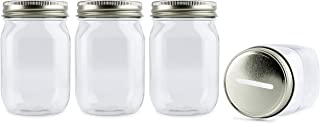 Cornucopia Small Coin Bank Jars (4-Pack); 16oz Clear Plastic Mason Jar Coin Banks w/ Gold Slotted Lids