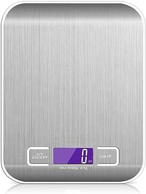 SENDOW Básculas de Cocina, Digital Báscula con Pantalla LCD para Cocina de Acero Inoxidable, 10kg/22lbs, Balanza de Alimentos Multifuncional, Color Plata