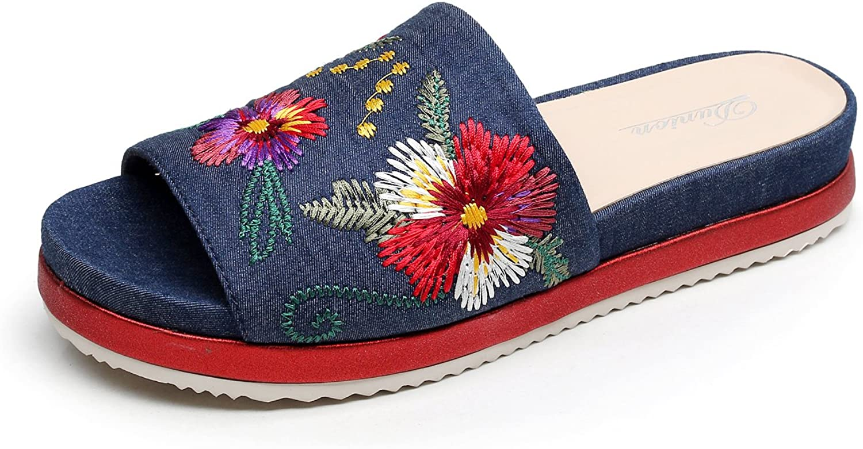 DUNION Women's Amazing Floral Embroidered Slide Platform Sandal