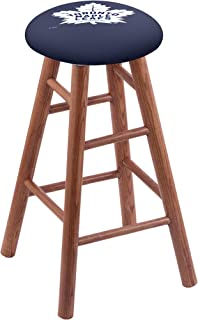 Holland Bar Stool Co. Oak Counter Stool in Medium Finish with Toronto Maple Leafs Seat by The