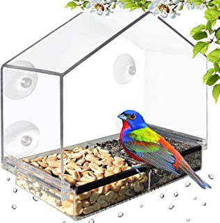 Gray Bunny GB-6902 Deluxe Clear Window Bird Feeder, Large Wild Birdfeeder with Drain Holes, Removable Tray, Super Strong Suction Cups, Transparent Viewing, Covered, High Seed Capacity, Rubber Perch