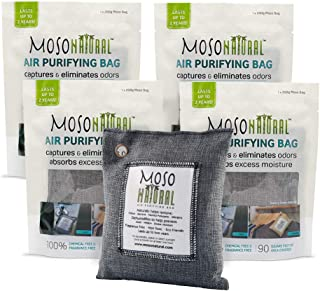 MOSO NATURAL Air Purifying Bags. Odor Eliminator and Odor Absorber. (4) Individually Sealed 200g Charcoal Deodorizer Bags.