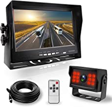 JPP Backup Cameras and Car 7 Inch Monitor Screen, LCD Monitor Rear View Camera Waterproof IR LED Night Vision Wide Angle, with 50ft AV 4-pin Cables for Truck/Semi-Trailer/Box Truck/Pickups/RV Campers