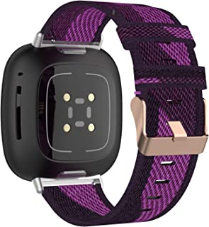 E ECSEM Bands Compatible with Fitbit Versa 3 and Sense Soft Woven Fabric Breathable Accessories Strap Replacement Wristban...