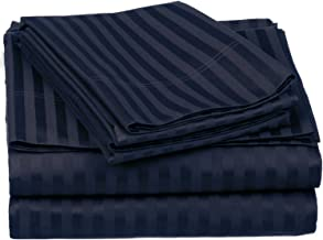 100% Egyptian Cotton 650 Thread Count Olympic Queen 4-Piece Sheet Set, Deep Pocket, Single Ply, Stripe, Navy Blue