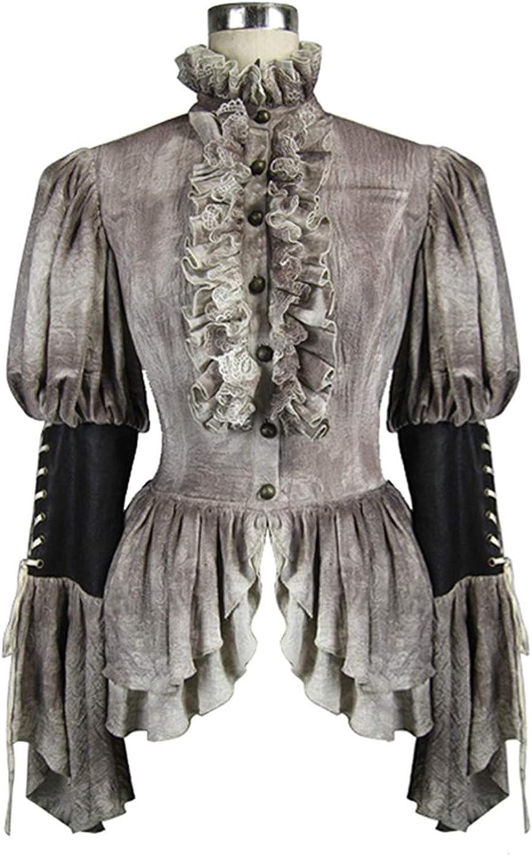 Devil Fashion Steampunk Lace Women Shirt Gothic Lolita Women Double Layer Hem Retro Blouse