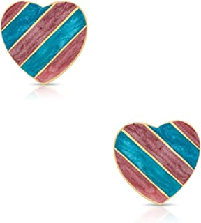 Jewelry for Girls – Striped Heart Stud Earrings - 18k Gold Plated with Purple Enamel - By Lily Nily