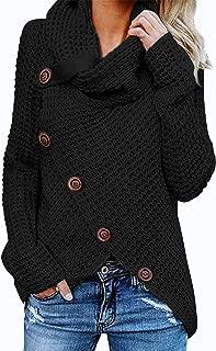 TEMOFON Women's Casual Turtle Cowl Neck Sweater Long Sleeve Button Asymmetric Hem Wrap Pullover Sweaters Tops S-2XL
