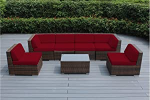 Genuine Ohana Outdoor Patio Sofa Sectional Wicker Furniture Mixed Brown 7pc Couch Set (Sunbrella Red)