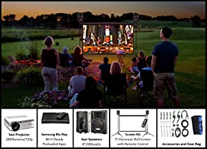 Indoor/Outdoor Theater Kit | Silverscreen Series System | 9' Projection Screen with HD Savi 3000 Lumen Projector, Sound System, Blu-Ray Player w/WiFi (SS-100)
