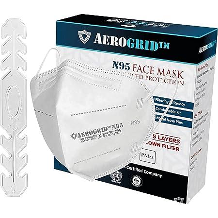 AeroGrid FFP2 (Pack of 5, White) Earloop Reusable N95 Mask for Unisex