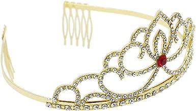 CamingHG Bridal Wedding Crystal Rhinestone Hair Headband Crown Comb Tiara Prom Pageant(Gold-red)