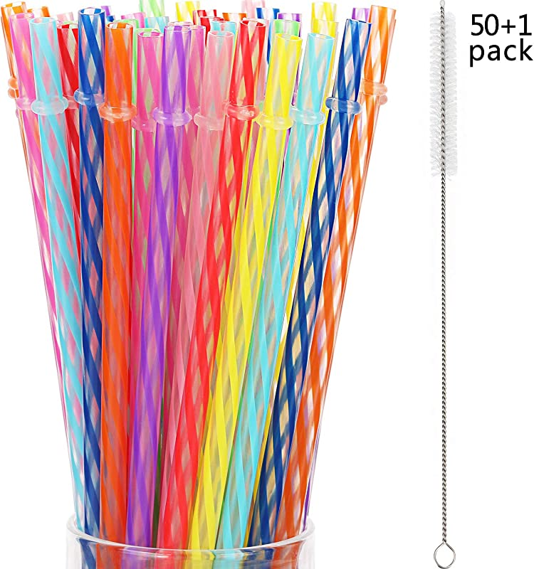 Jovitec 50 Pieces Reusable Drinking Straw Thick Plastic Straws With Cleaning Brush Straw Cleaner 11 Inch Multi Color 2