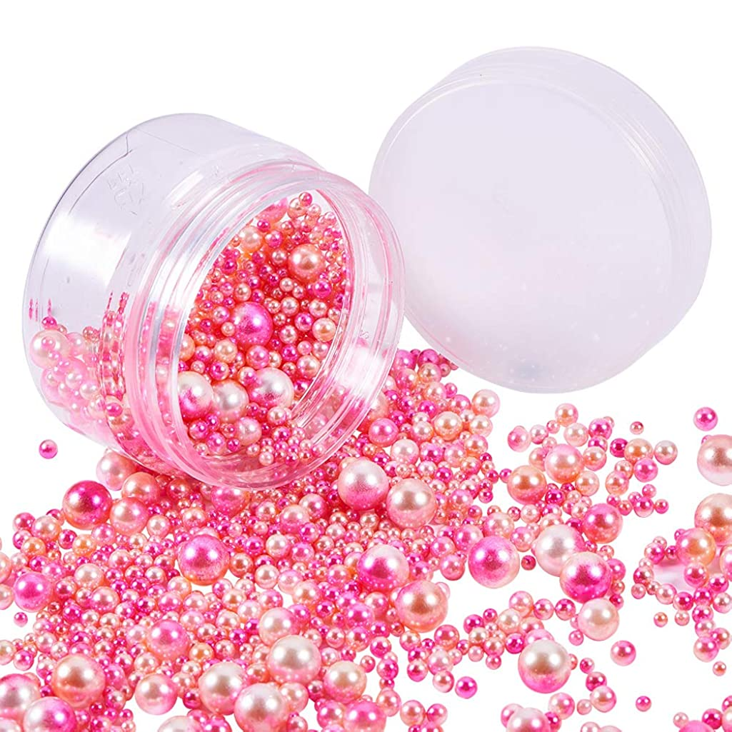 PH PandaHall About 1520 Pieces 6 Sizes No Holes/Undrilled Imitated Pearl Beads for Vase Fillers, Wedding, Party, Home Decoration, Hot Pink (3mm, 4mm, 5mm, 6mm, 8mm, 10mm)