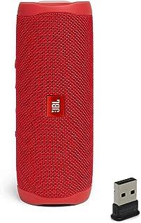 JBL Flip 5 Waterproof Portable Wireless Bluetooth Speaker Bundle with USB 2.0 Bluetooth Adapter - Red
