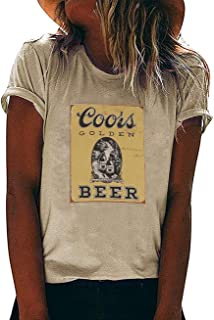 FAYALEQ Coors Golden Beer T Shirt Vintage Graphic Tee Women Funny Drinking Shirt Beer Lovers Casual Short Sleeve Tops