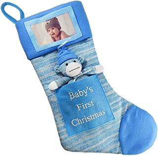Babys First Christmas Stocking; Baby Boy Stocking with Removable Soft Toy; with Picture Frame - Personalize it with Baby's Picture! (Blue)