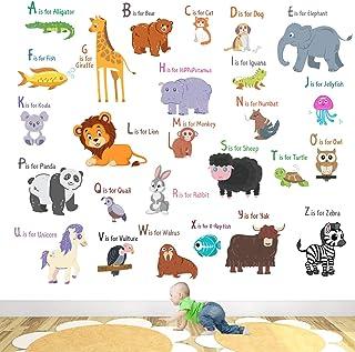 StickMe 'Animal Alphabets Kids Learning Education Nursery Pre School Kinder Garden Wall Sticker' for Baby (PVC Vinyl, 100 ...