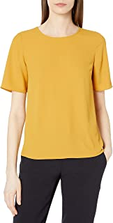 Lark & Ro Camiseta de Manga Corta para Mujer de Crepe de Chine con Cuello Redondo
