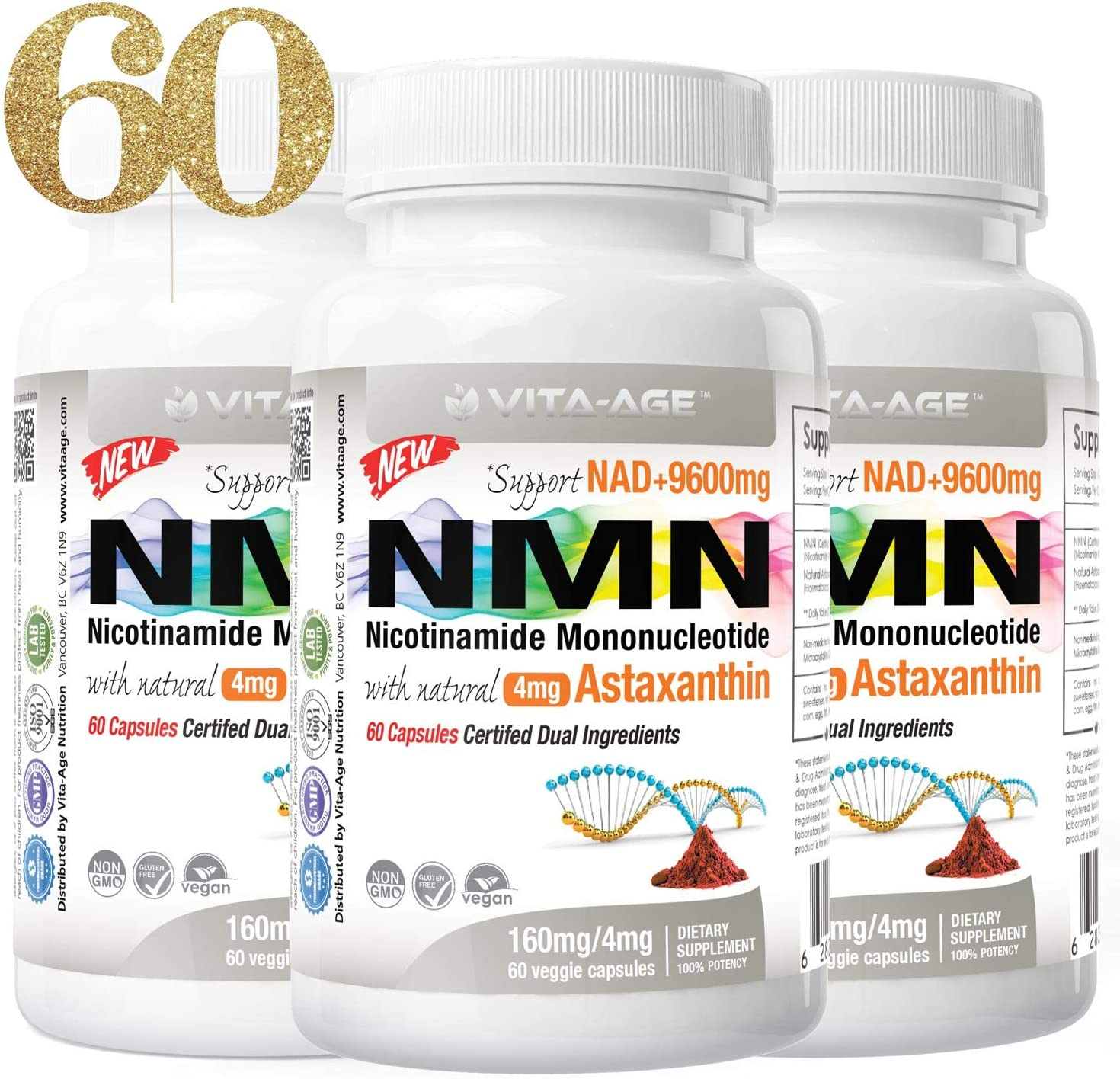 Vita-Age NMN Lab New York Mall Tested 374mg 8mg Serving High with Astaxanthin Complete Free Shipping